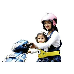 KIDSAFE BELT - Two Wheeler Child Safety Belt - World's 1st, Trusted & Leading (Cool Yellow Eyes), yellow