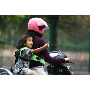 KIDSAFEBELT - Two Wheeler Child Safety Belt - World's 1st, Trusted & Leading (Air Light Green), green