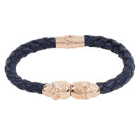Chasquido Rose Gold/Navy Blue Twin Skull Bracelet, m