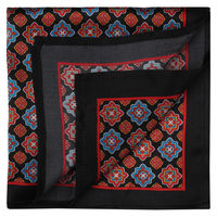 Black/Red Seamless Ornament Pocket Square