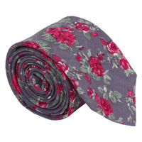 Primrose Grey Small Floral Tie