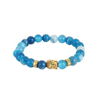 Buddha Face Blue Beaded Bracelet