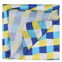 Blue/Yellow Seamless Check Pocket Square