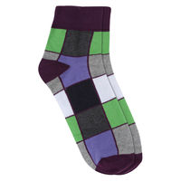 Chasquido Rainbow Check Purple Low Cut Socks