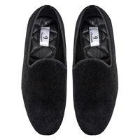 Chasquido Black Fur Slip-ons, 8