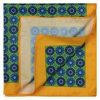 Green/Yellow Foulard Pattern Pocket Square