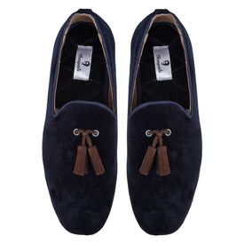 Chasquido Navy Blue Slip-ons with Brown Tassels, 9