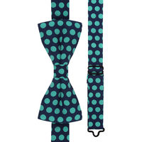 Blue with Green Polka Dots Bow Tie