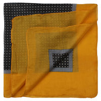 Grey/Yellow Pindots Extra Long Pocket Square