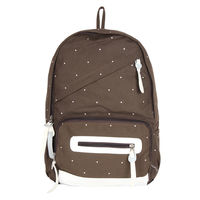 Brown Pindot Print Backpack