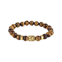 Buddha Face Brown Beaded Bracelet