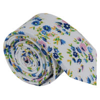White and blue floral Tie