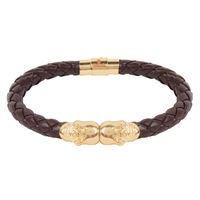 Chasquido Gold/Brown Twin Skull Bracelet, m