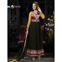 Georgette designer dress material,  black, standard