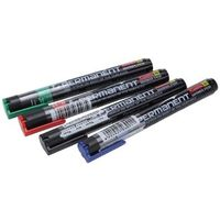 Camlin Permanent Marker - Pack of 4 Assorted Colors (Black, Blue, Red, Green)
