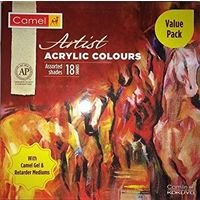 Camel Artist Acrylic Color Box(20ml, 18 shades) with Gel & Retarder Mediums