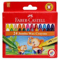 Faber Castell Jumbo Wax Crayons, 24 Shades( 90mm)