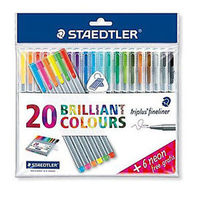 Staedtler Triplus Fineliner Pen box of (20= 6 neon colors) (334 SSB20 P2)