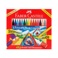 Faber Castell Erasable Crayons, 15 Shades(110mm)