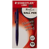 Staedtler Luna RiteClic Ball Pen - Transparent Body, Blue Ink, Pack of 10