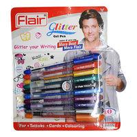 Flair Glitter Gel Pen, 10 Assorted Ink colours
