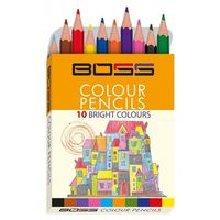 Navneet Boss Colour Pencil Half Size 10 Shades 55007 (Pack of 10)