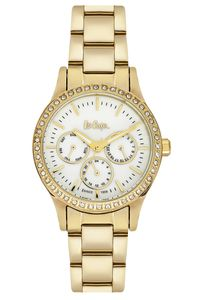 Women 's Super Metal Band Watch - LC06402, mop white, gold, gold