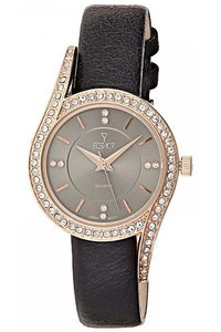 Ecstacy Women's Leather Band Watch E8504-RLBX, black, rose gold, grey