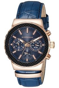 Men's Integrated Leather Band Watch -1779, blue, rose gold, blue