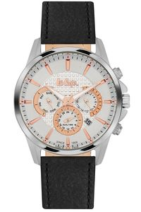 Men's Leather Band Watch -LC06436, black, silver, white
