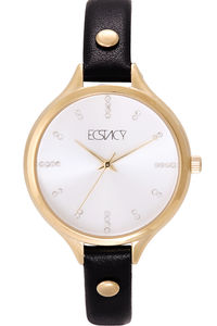 Women's Leather Band Watch -E7503, black, silver, gold