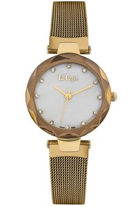 Women's Super Metal Band Watch -LC06607, mop white, gold, gold