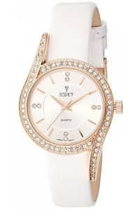 Ecstacy Women's Leather Band Watch E8504-RLWW, white, rose gold, white