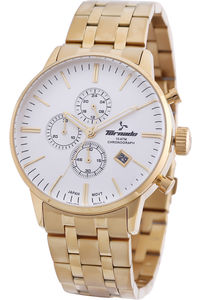 Men's Solid Stainless Steel Band Watch- T6102, gold, white, gold