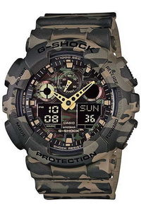 G-shock Men's Resin Band Watch GA-100CM-5A, camouflage/green, camouflage/green, camouflage/green