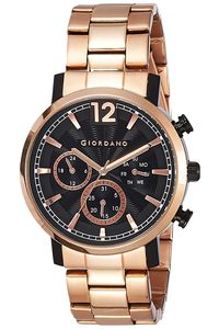 Giordano Men's Solid Stainless Steel Band Watch 1762-22, black, gold, gold