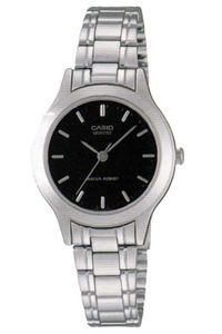 Women's Stainless Steel Band Watch - LTP-1128, black, silver, silver