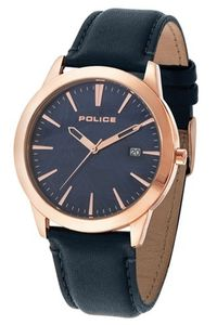 Men's Leather Band Watch - P 14139, blue, rose gold, blue