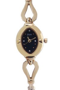 Women's Stainless Steel Band Watch-S7514, black, gold, gold