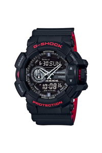 G-shock Men's Resin Band Watch GA-110HR-1A, black, black, black/red