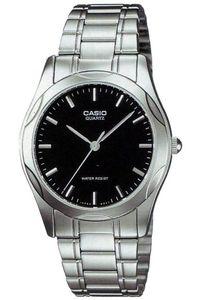 Men's Stainless Steel Band Watch - MTP-1275, black, silver, silver