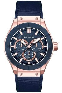 Men's Leather Band Watch - 1776, blue, rose gold, blue