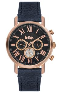 Men's Leather Band Watch - LC06250, rose gold, black, black