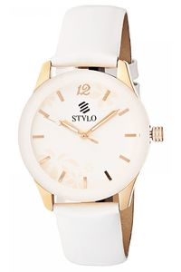 Stylo Women's Leather Band Watch - S7540-BLRS, silver, rose gold, white
