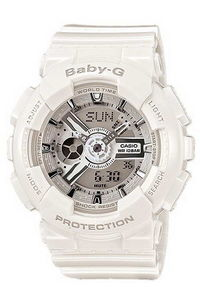 Baby G Women's Resin Band Watch BA-110-7A3, white, white, grey