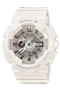 Baby G Women's Resin Band Watch BA-110-7A3, white, white, grey
