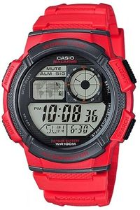 Men's Resin Band Watch - AE-1000, red, red, grey