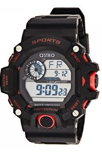 Astro Kids Black Plastic Watch - A8904-PPBSR, black, black/red, black