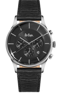 Men's Leather Band Watch -LC06491, blue, rose gold, silver