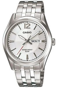 Men's Stainless Steel Band Watch - MTP-1335, silver, silver, silver